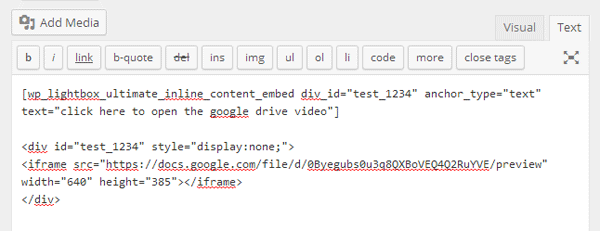 screenshot showing how to embed a google drive video in wordpress