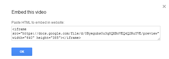 screenshot showing the HTML embed code for the Google drive video