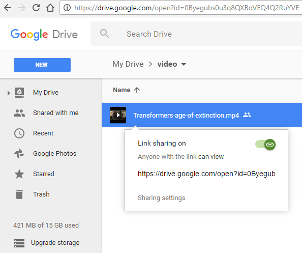 link sharing preview url in google drive