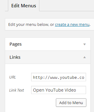 screenshot showing how to add a link to wordpress menu