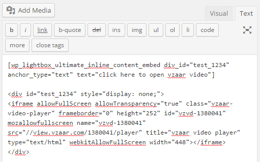 screenshot showing how to embed a vzaar video in wordpress